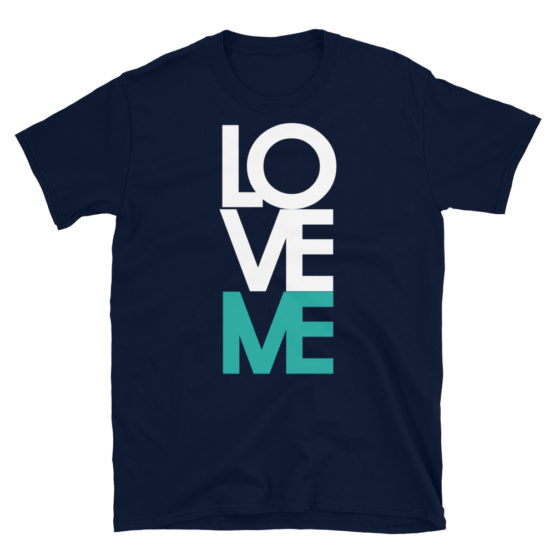 """Love me"" in big letters. Nice fashion navy t-shirt 