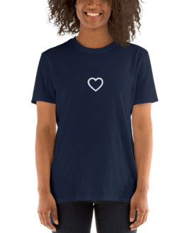 Stylish cute navy t-shirt. Big love in a little heart| Flirtytshirts.store
