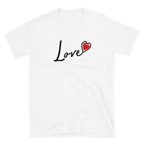 "Cute white t-shirt - ""Love"" with a red heart 