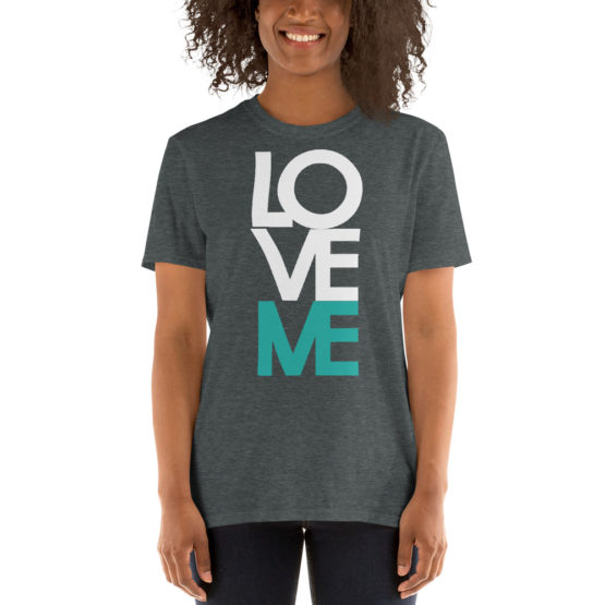 """Love me"" in big letters. Nice fashion dark gray t-shirt 
