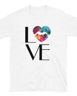 Love fashion white t-shirt. With colorful heart | Flirtytshirts.store