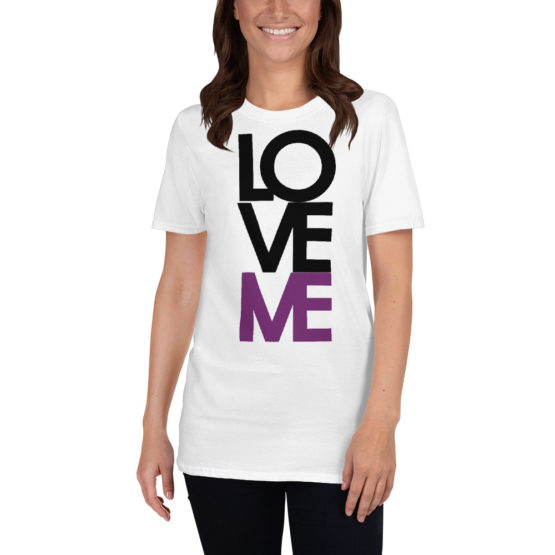 """Love me"" in big letters. Nice fashion white t-shirt 
