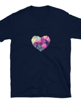 Stylish navy t-shirt with diamond colorful heart | Flirtytshirts.store