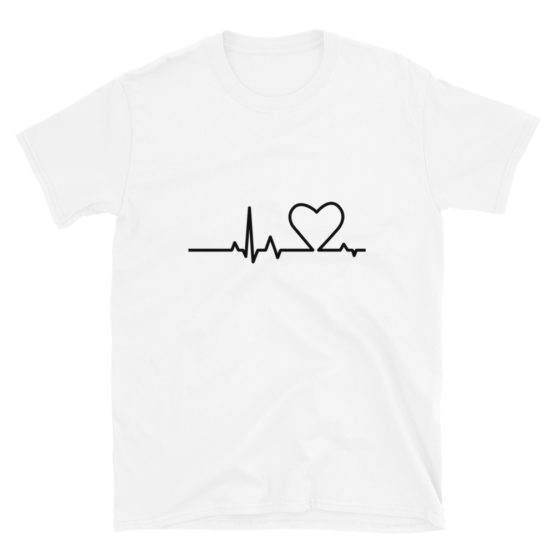 Premium white shirt. Heartbeat t-shirt | Flirtytshirts.store