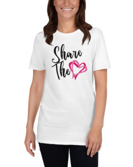 Share the Love. Cool white t-shirt with a pink heart | Flirtytshirts.store