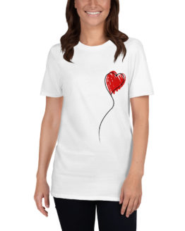 Love red heart balloon. Cute white t-shirt for girls | Flirtytshirts.store