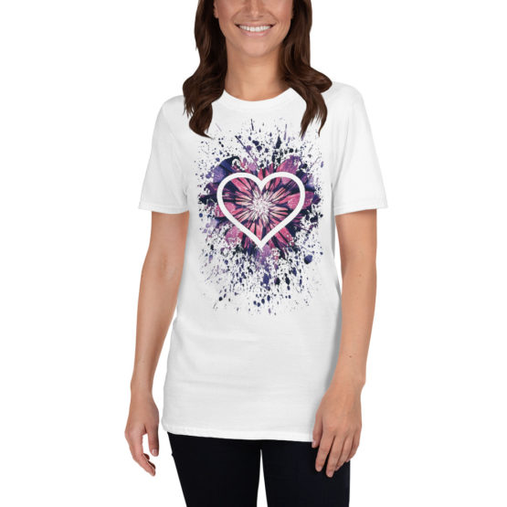 Flower heart. Beautiful white t-shirt of universal love | Flirtytshirts.store
