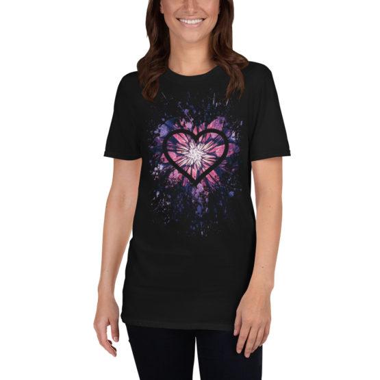 Flower heart. Beautiful black t-shirt of universal love | Flirtytshirts.store