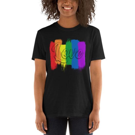 Сolorful love black t-shirt. Cool unisex teeshirt | Flirtytshirts.store