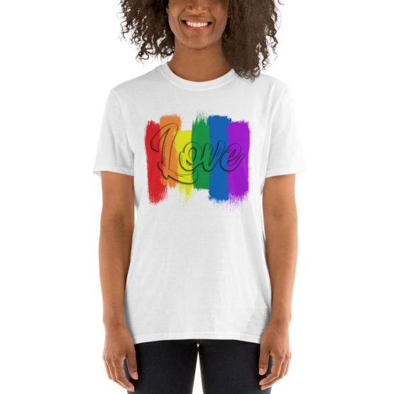 Сolorful love white t-shirt. Cool unisex teeshirt | Flirtytshirts.store