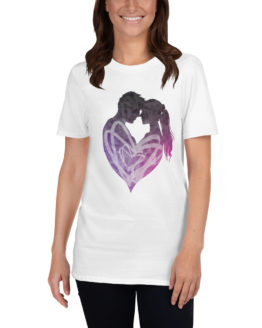 Beautiful love white t-shirt with a man and a woman | Flirtytshirts.store