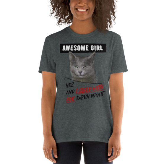 """Funny dark gray t-shirt with a cat. """"I sleep with her every night""""   Flirtytshirts.store"""