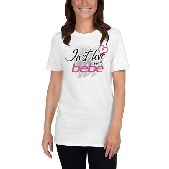 "Cute white t-shirt - ""Just love my bebe"" 