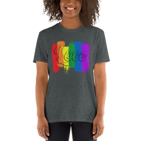 Сolorful love dark gray t-shirt. Cool unisex teeshirt | Flirtytshirts.store